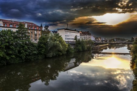Bamberg Luitpold Bridge Sunset