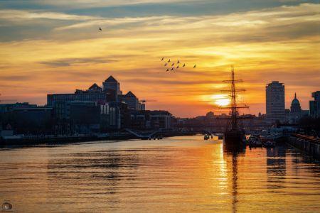 Dublin Hafen Sonnenuntergang