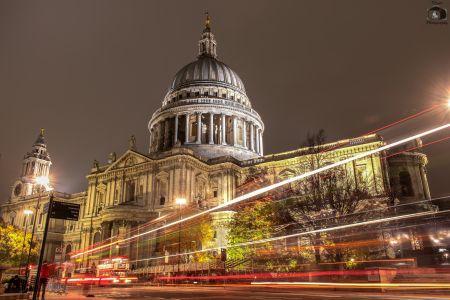 London St. Pauls Cathedral At Night