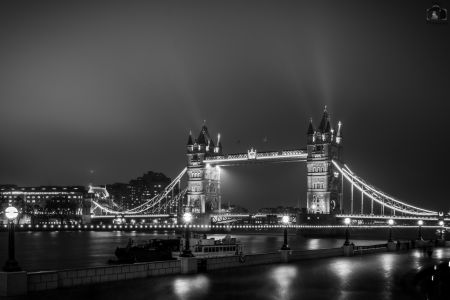 London Tower Bridge Night Monochrome