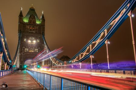 London Tower Bridge Night Traffic