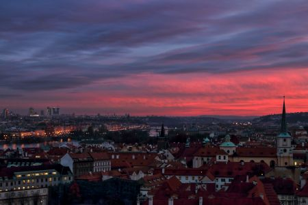 Prague Skyline At Sunset